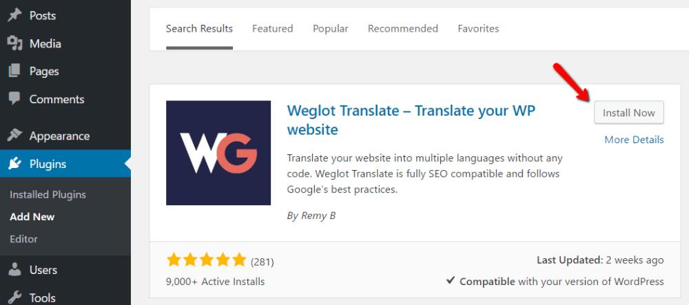 how to install Weglot
