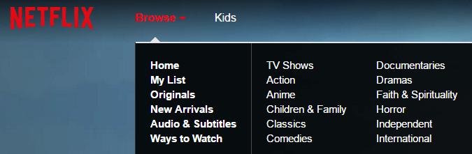 Netflix's main menu.