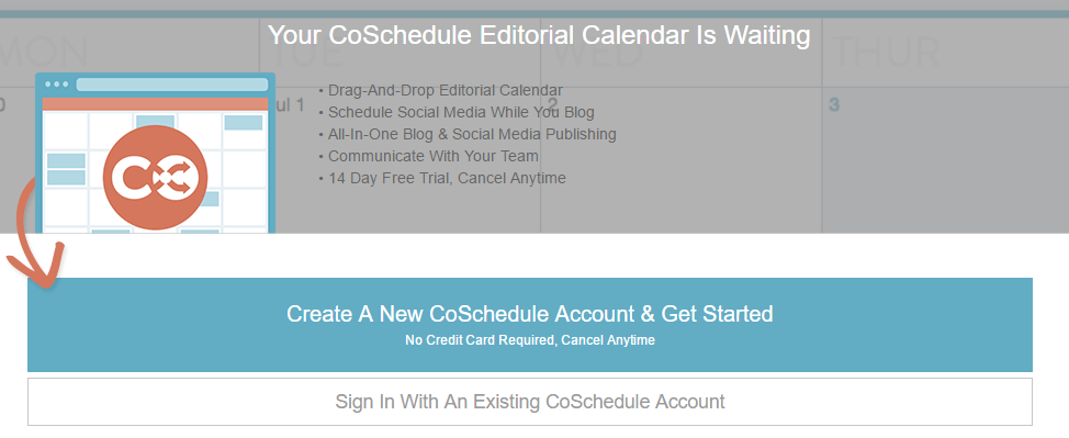 Signing up for a CoSchedule account.