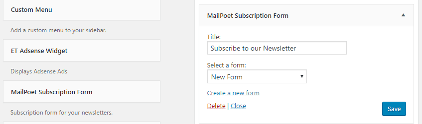 The MailPoet signup widget.