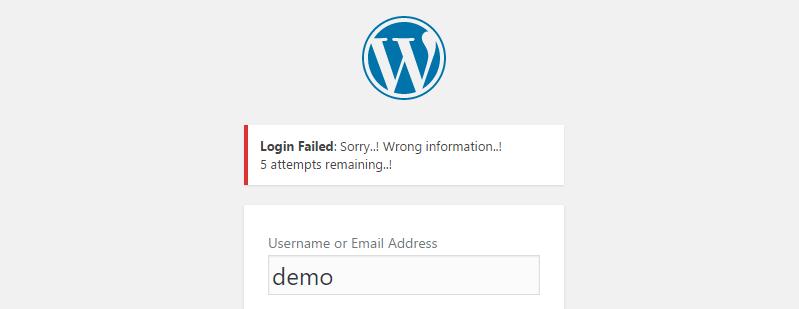 A WordPress login error.