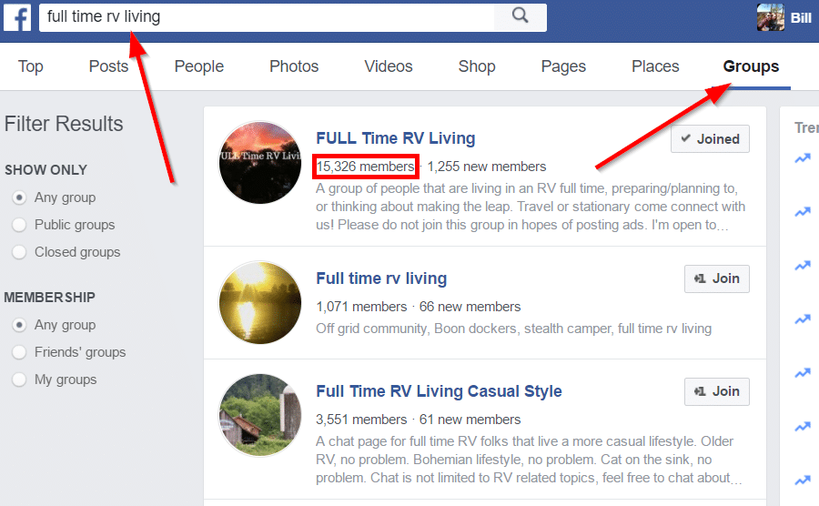 How to find relevant Facebook groups