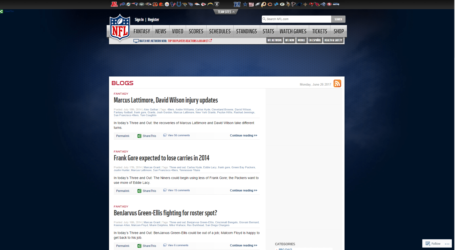NFL-blogs-WordPress-Front-Page