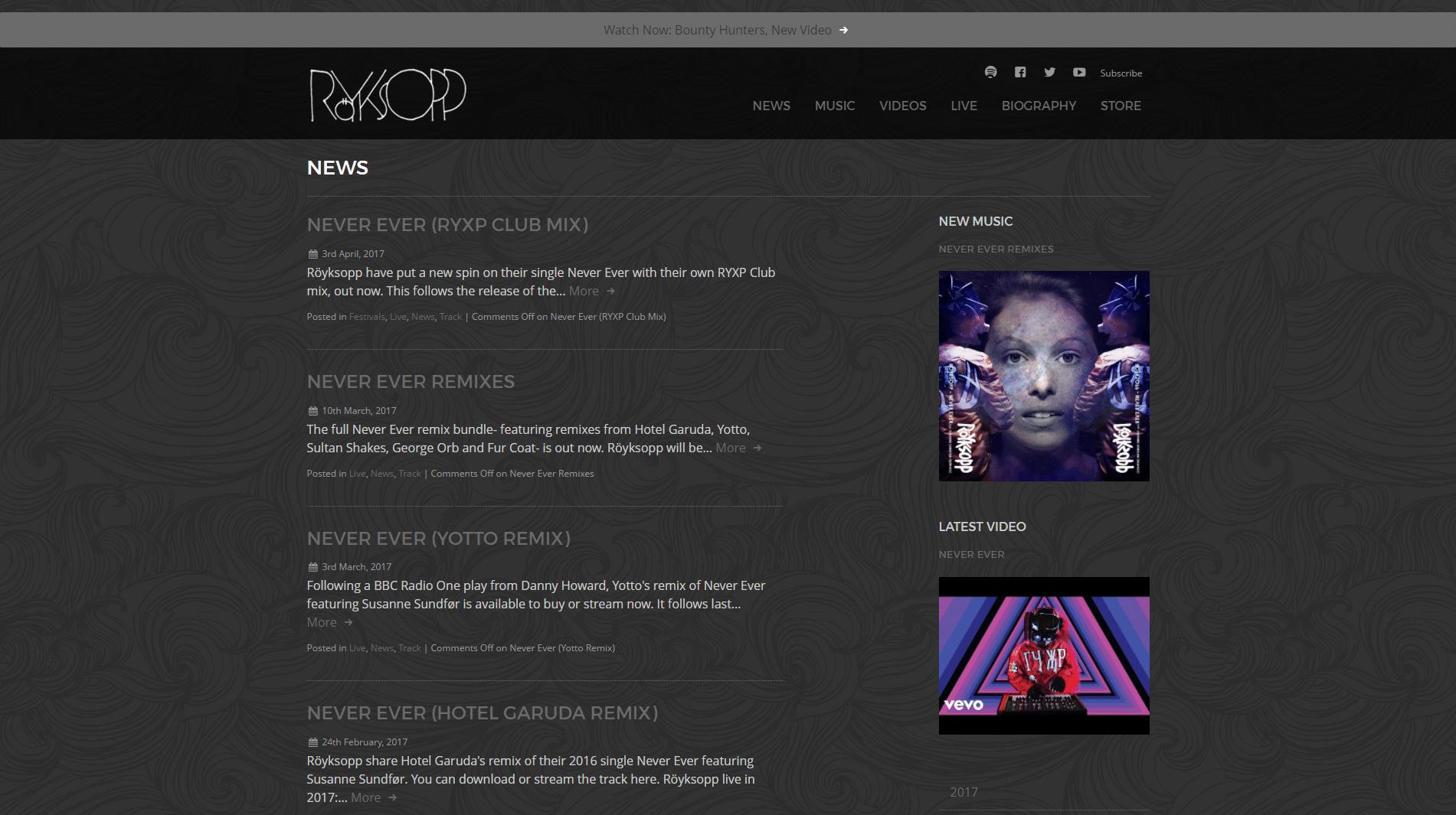 Royksopp-WordPress-Front-Page