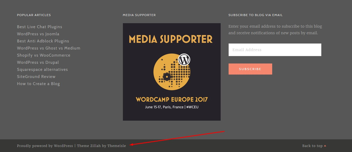 footer note mentioning the WordPress theme
