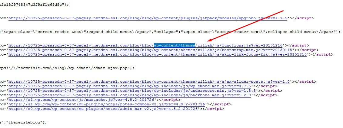 page source to see a WordPress theme name