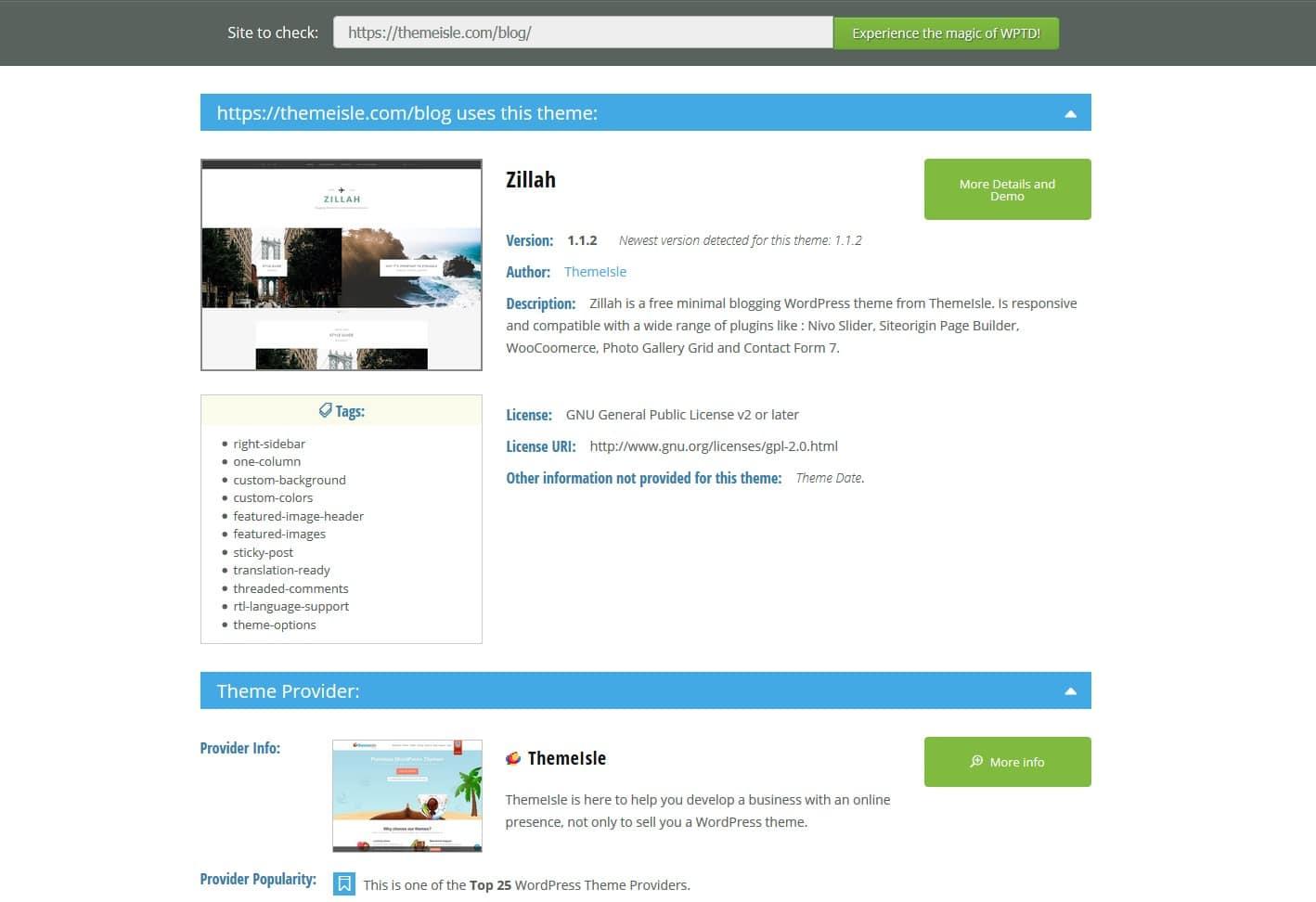 WordPress Theme Detector demo