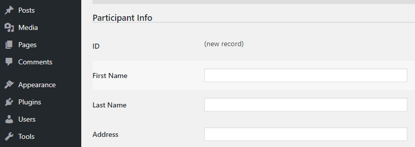 Adding a new participant to your database.