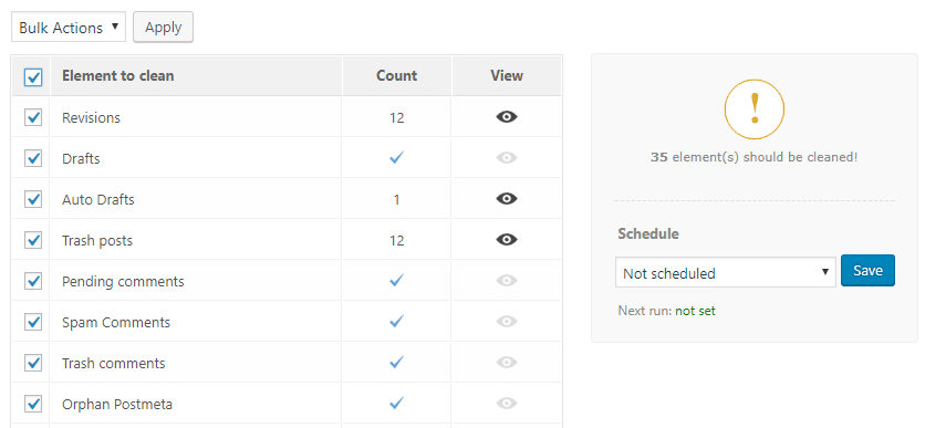 The Advanced Database Cleaner plugin's settings.