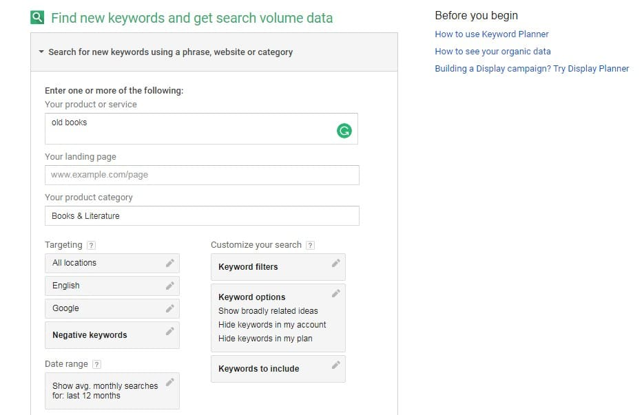 Google Keyword Planner start page
