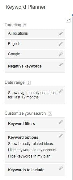 keyword research for WordPress via Google Keyword Planner