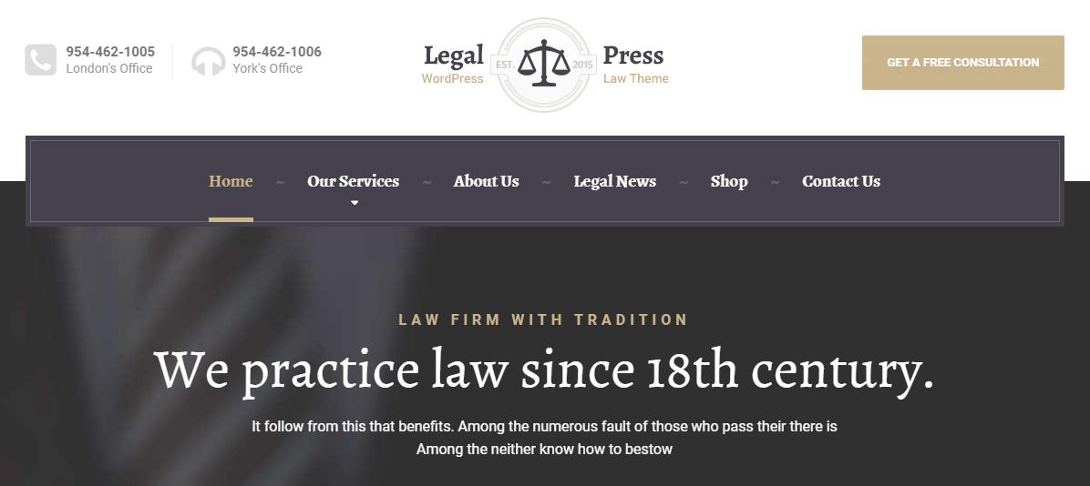 An example of a WordPress business website