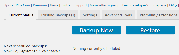 Creating your first backup.