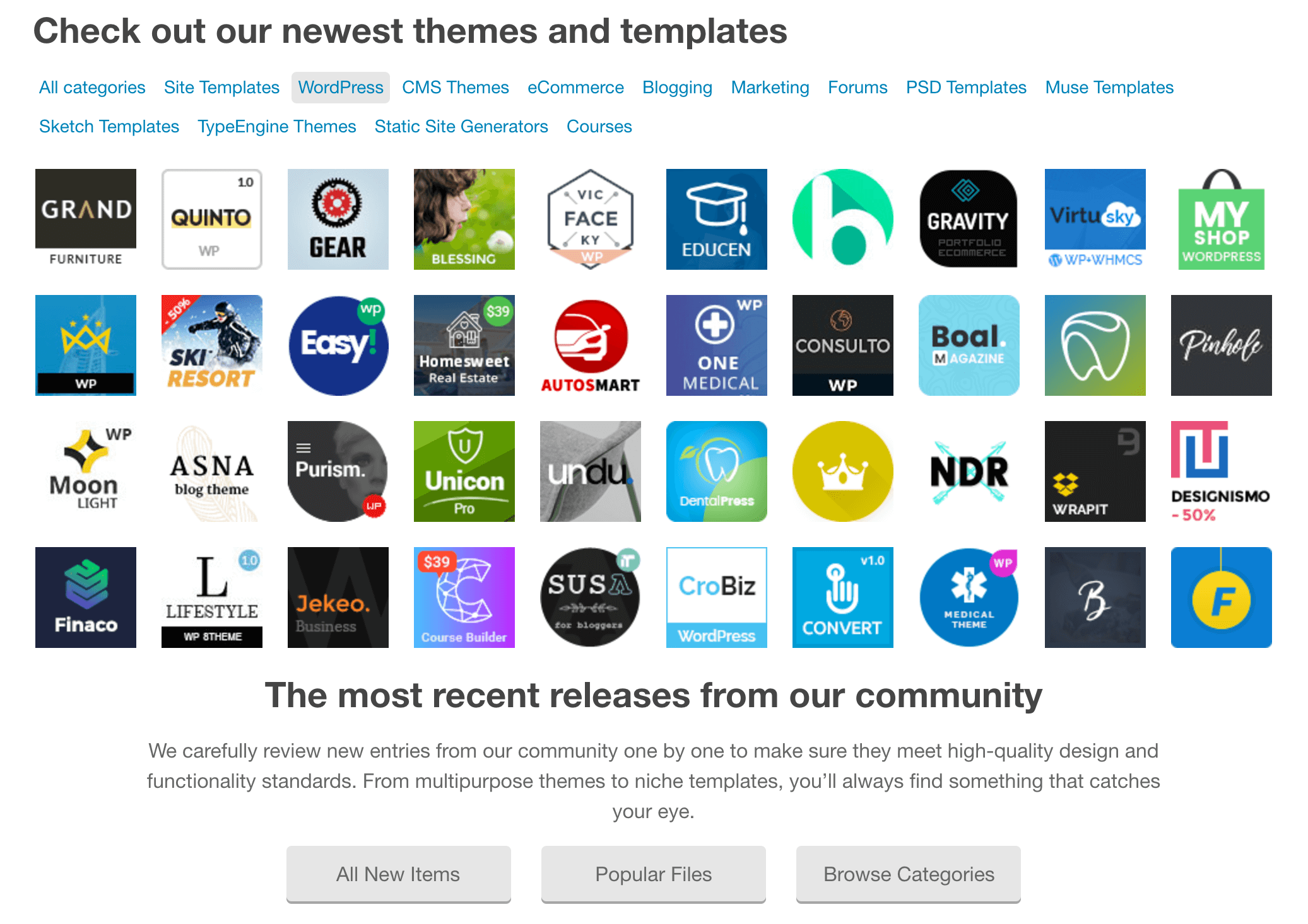 A selection of ThemeForest's WordPress themes.
