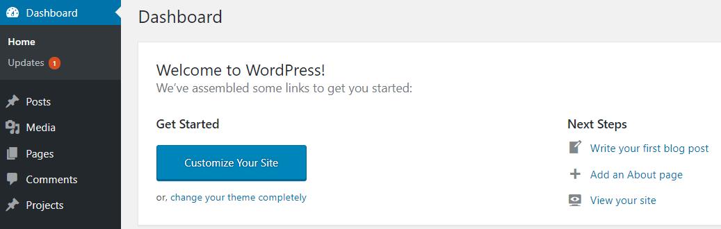 A WordPress dashboard.
