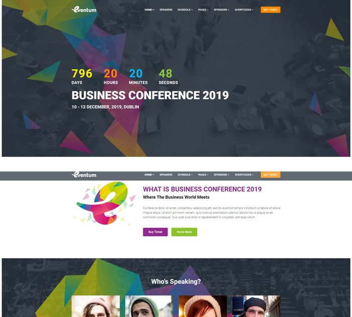 best event / conference themes for WordPress: Eventum