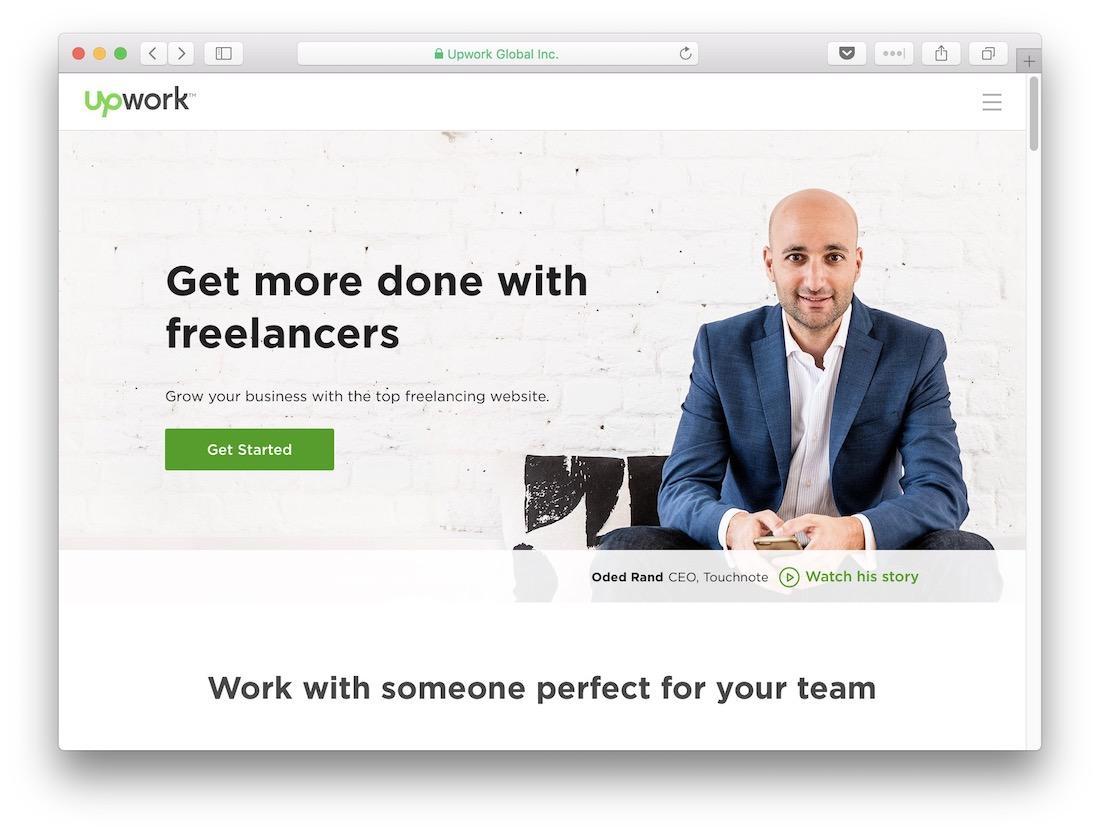 The Upwork homepage