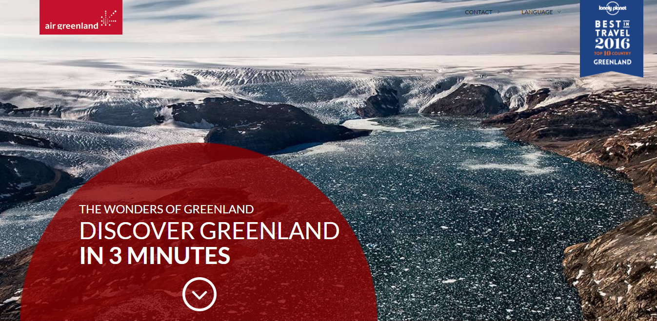 The Air Greenland one-page website homepage.