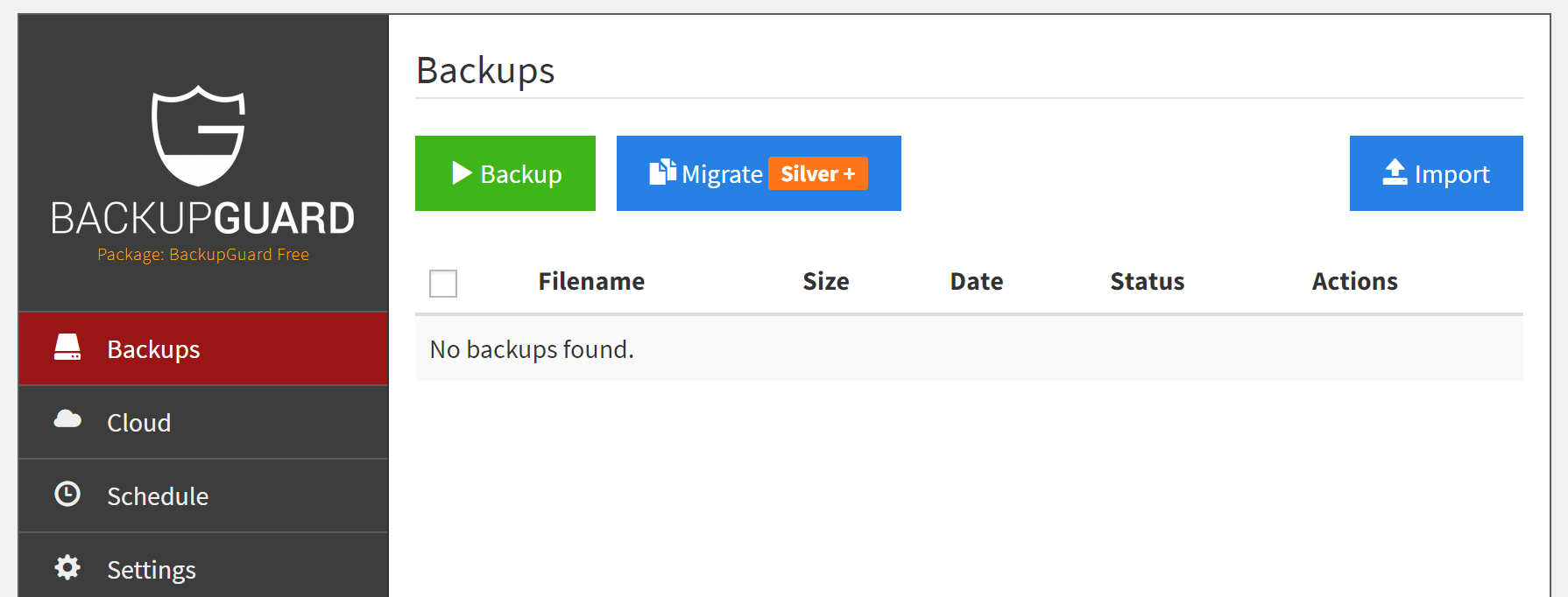 The BackupGuard settings screen.