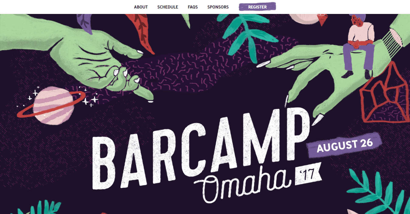 The Barcamp Omaha website homepage.
