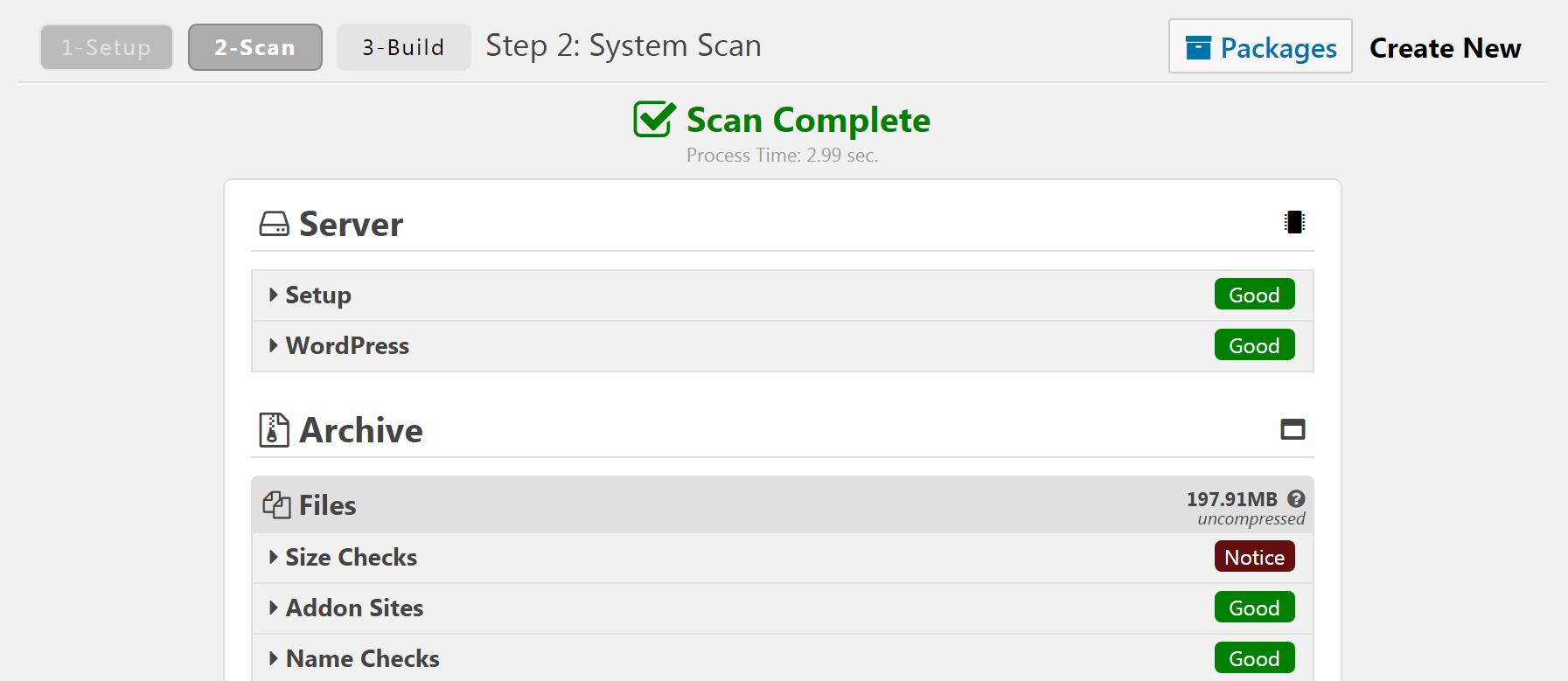 The Duplicator plugin scan results.