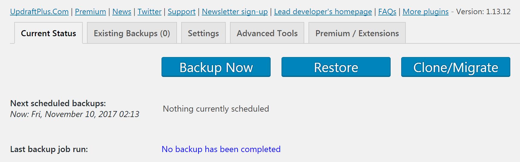 The UpdraftPlus backup screen.