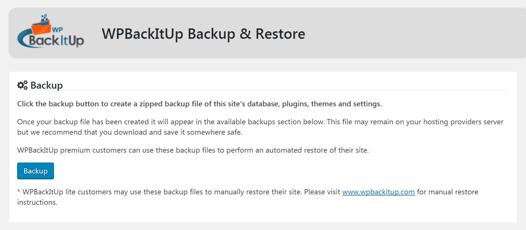 The WPBackItUp plugin main screen.