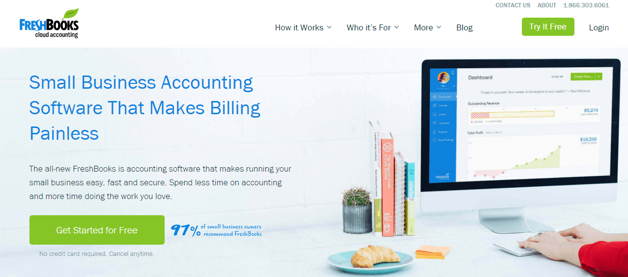 The FreshBooks accounting website.