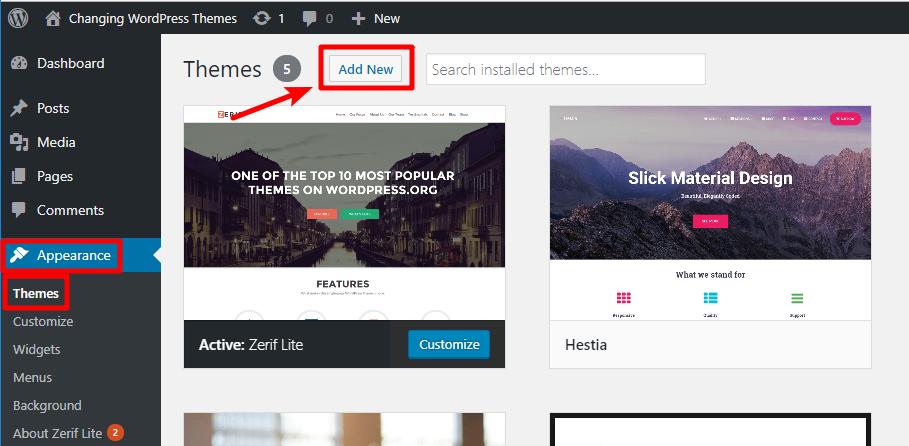 add a new WordPress theme
