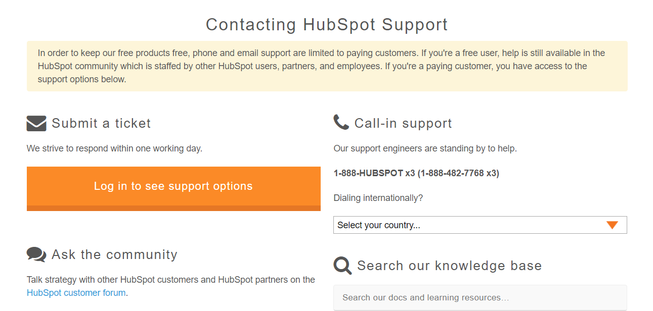 A contact page on HubSpot.