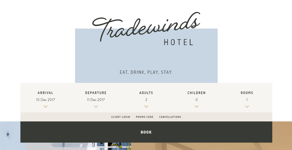 The Tradewinds Hotel website.