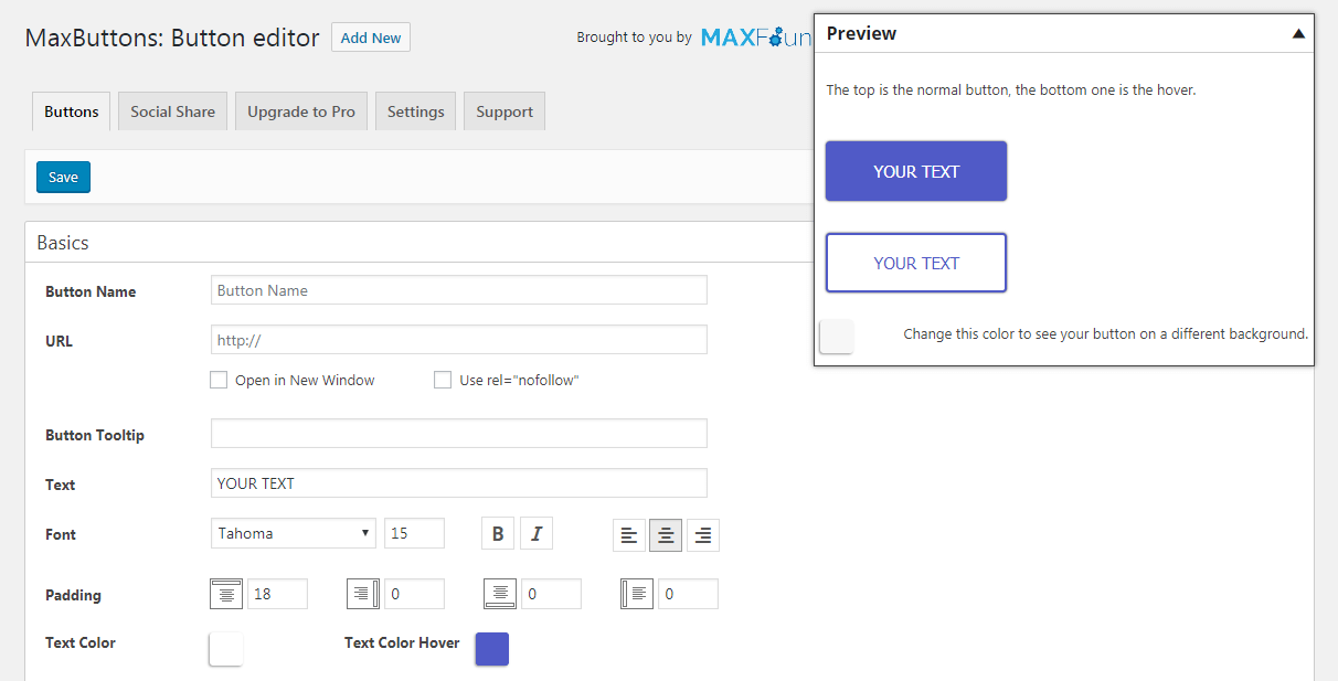 The MaxButton editor screen - your first step on the way to add call to action to WordPress.