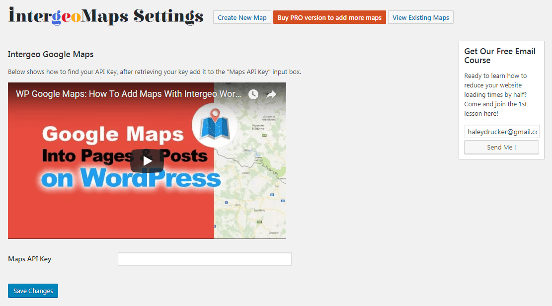 Pasting your key to add Google Maps to WordPress.