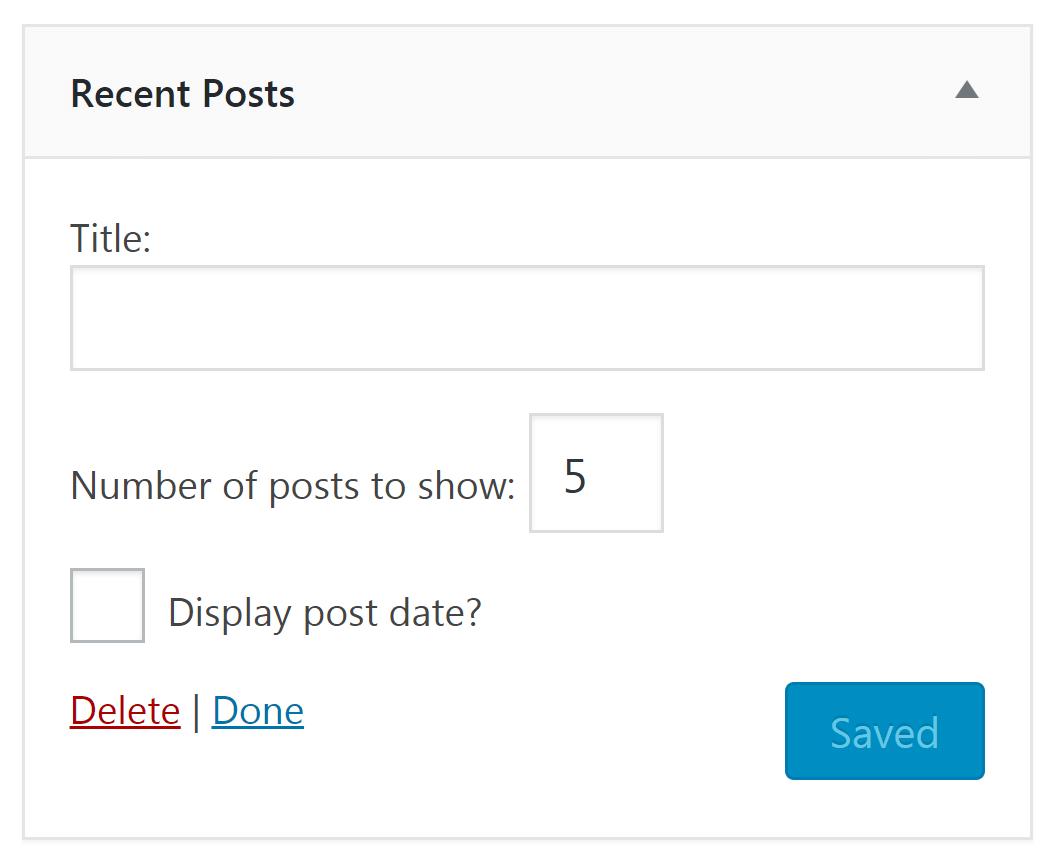 The Recent Posts widget in WordPress.