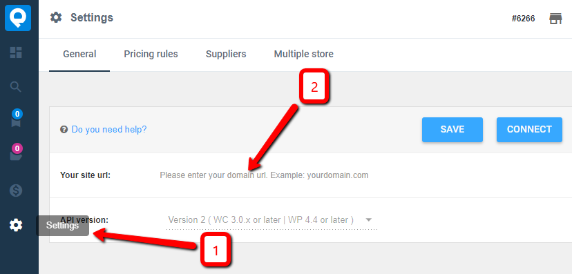 settings and site URL
