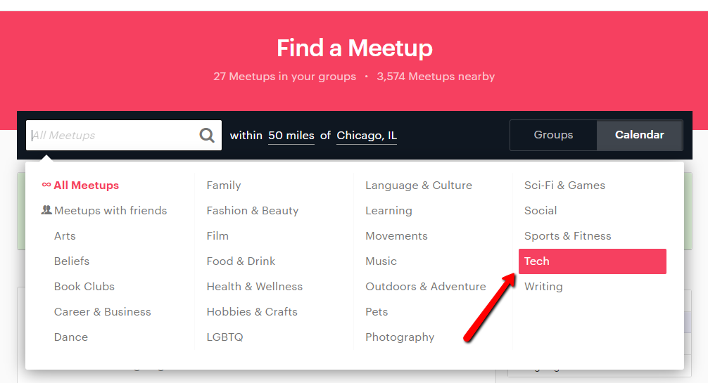 searching the tech category on meetup