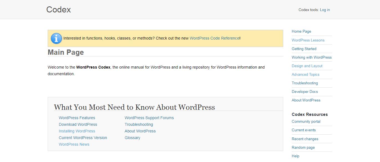 The WordPress Codex.