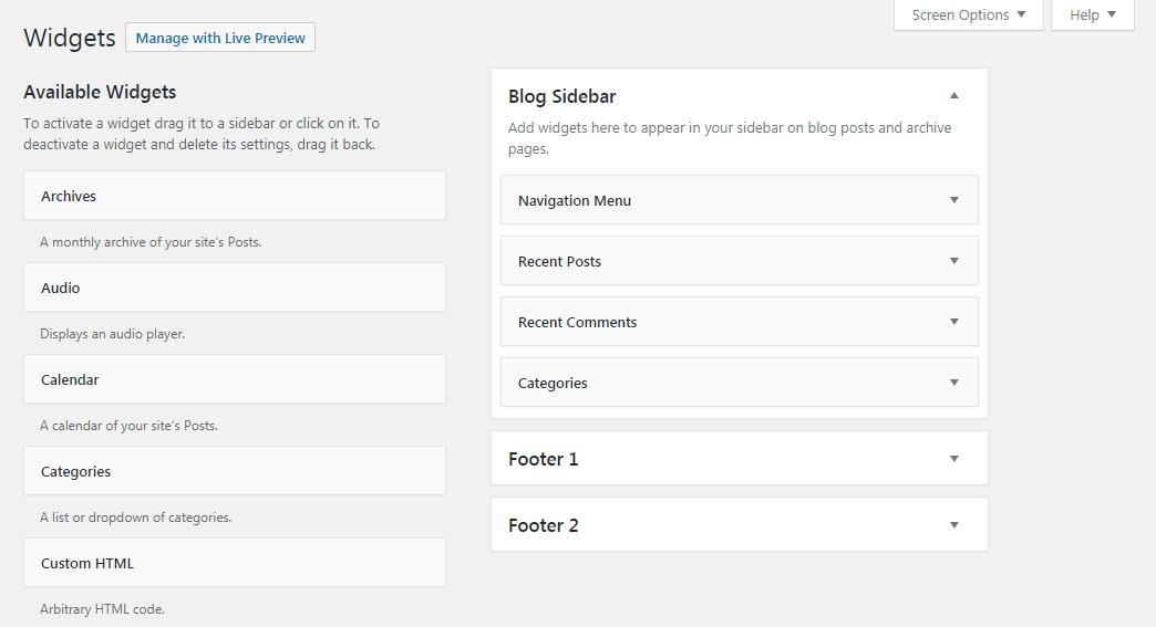 The Widgets tab in WordPress.