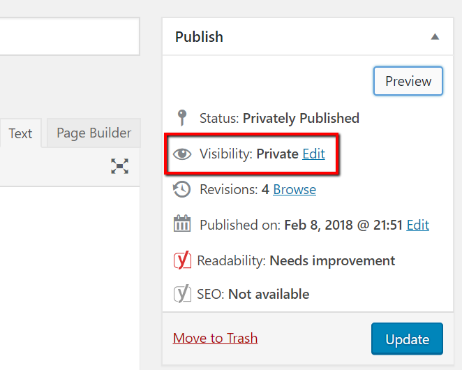 WordPress private posts - the backend