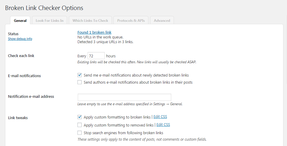 The Broken Link Checker plugin settings.