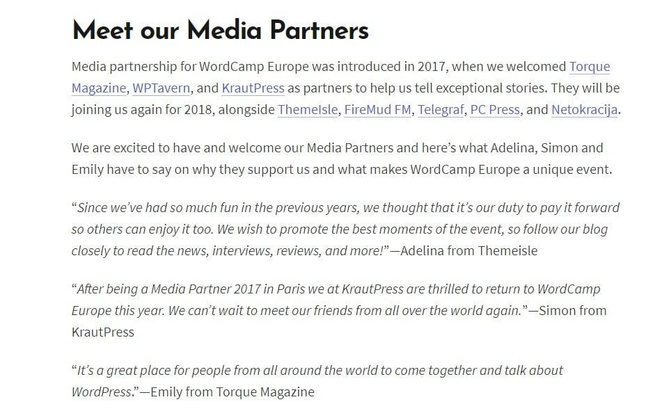 media partners announced