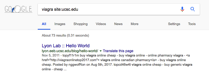 the pharma hack is an example of malware in WordPress