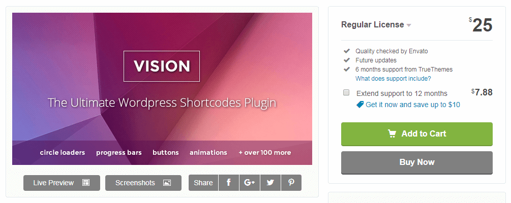 The Vision WordPress plugin for shortcodes.