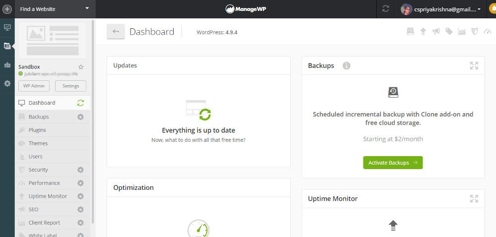 Manage multiple WordPress websites : ManageWP