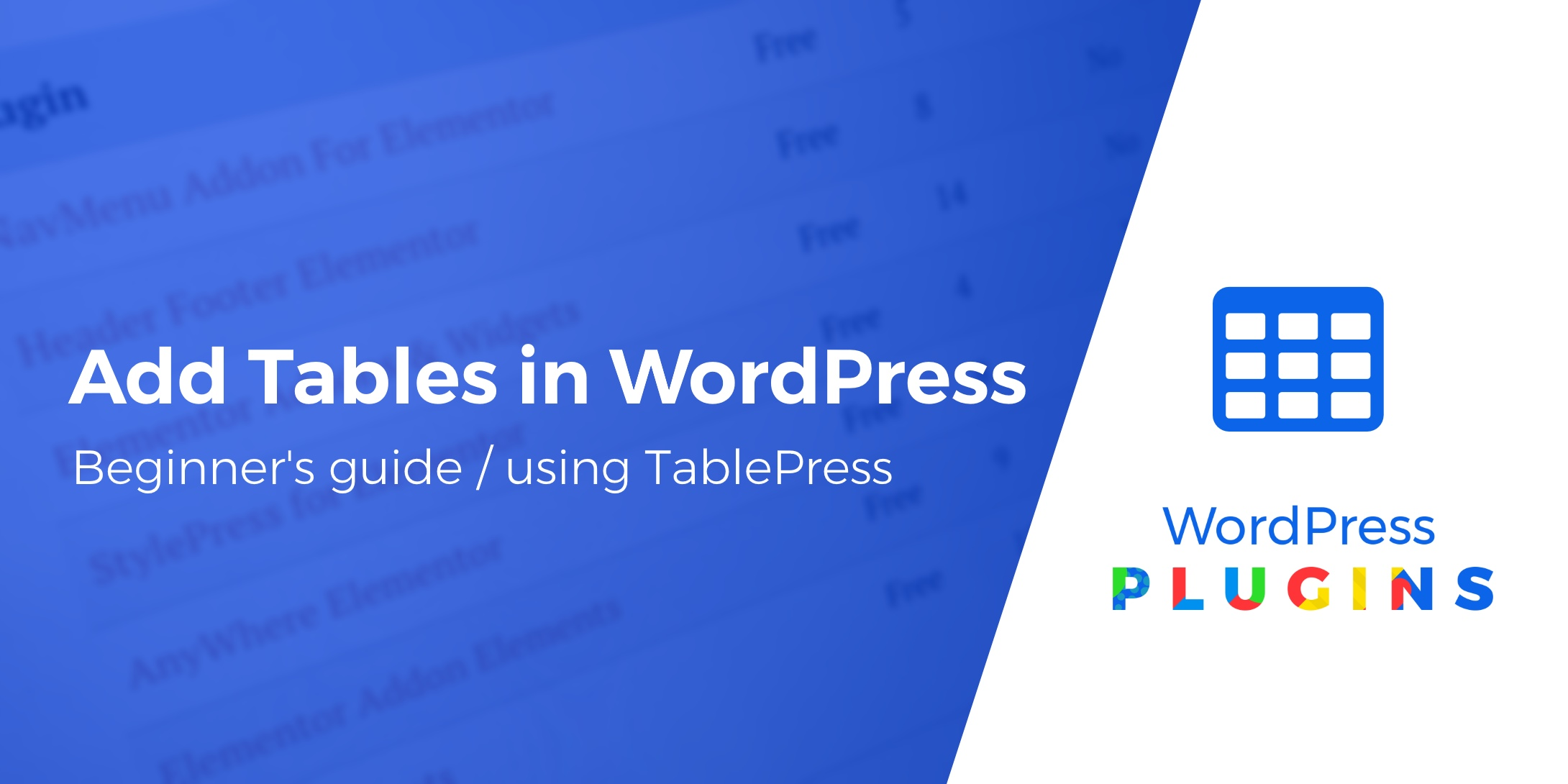 add tables in WordPress