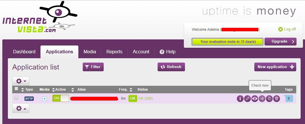 monitor WordPress uptime with InternetVista