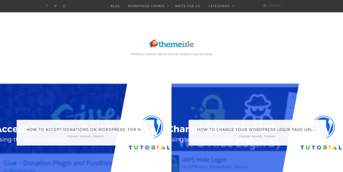 The ThemeIsle blog homepage