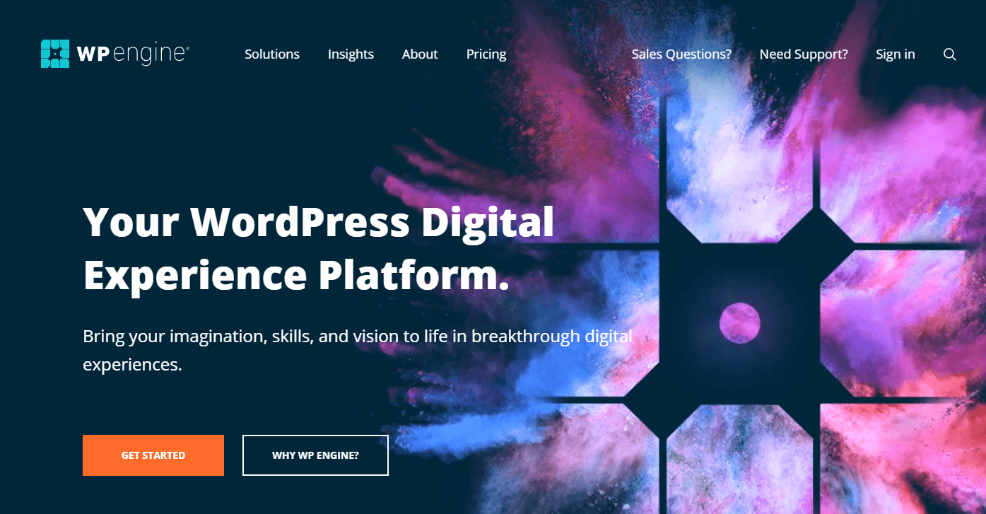 The WP Engine home page.