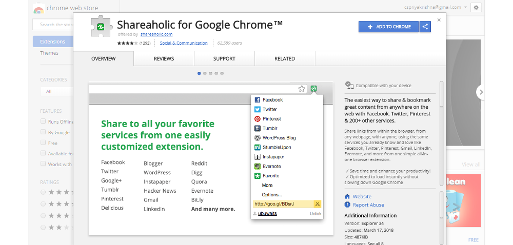 Shareaholic for Google Chrome