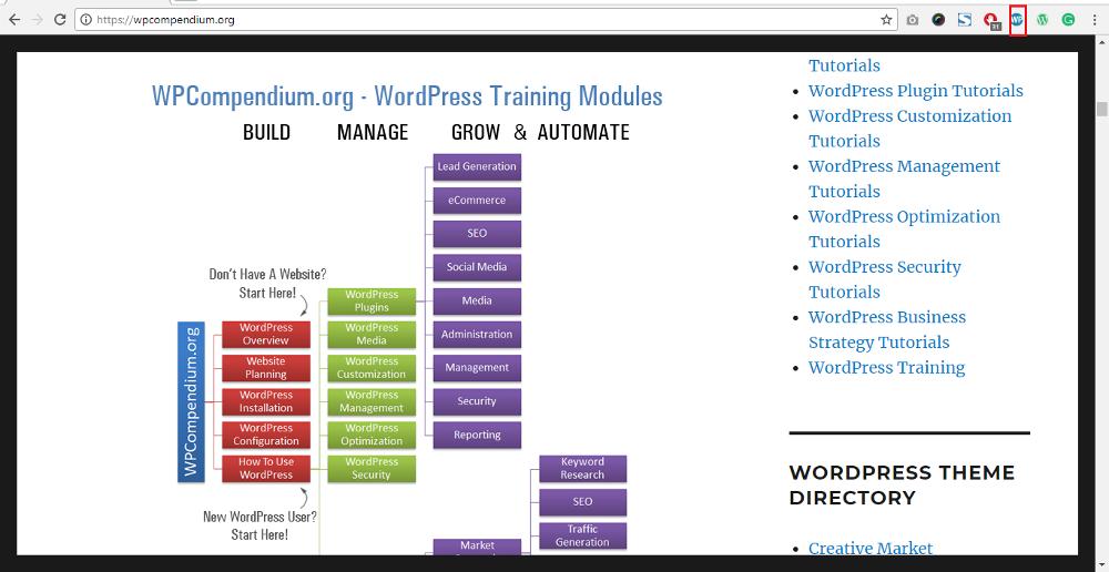 WordPress Chrome Extensions: WP Compendium